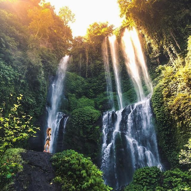 BALI WITH ITS HIDDEN WATERFALL IN THE THE FORREST